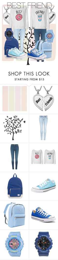 """""""BEST FRIEND"""" by chere18 ❤ liked on Polyvore featuring Godinger, J Brand, River Island, Herschel Supply Co., Converse, Everest and Baby-G"""