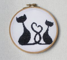 Cross stitch pattern PDF Cats love from CrossStitchForYou on Etsy. Saved to My cross stitch patterns. Beaded Cross Stitch, Counted Cross Stitch Patterns, Diy Embroidery, Cross Stitch Embroidery, Cross Stitch Animals, Tapestry Crochet, Fuse Beads, Cat Love, Cross Stitching