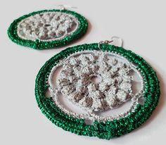 Crochet earrings lace earrings hoop earrings by FarbotyKnoty Lace Earrings, Silver Earrings, Crochet Earrings, Hoop Earrings, Lace Making, Earring Backs, Crochet Lace, My Favorite Things, Metal