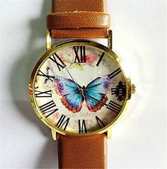HITOP Vintage Retro Blume Damen Armbanduhr Basel-Stil Rhinestones geometrischen Schmetterling Quarz Lederarmband Uhr Top Watch