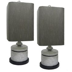 JT Lighting Grey/ Silver Table Lamps (Set of 2) - Overstock™ Shopping - Big Discounts on JT LIGHTING Lamp Sets