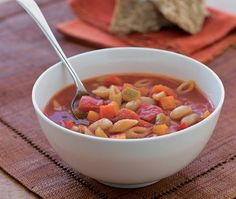 easy chunky bean minestrone soup recipe with pasta, celery, carrots, peppers & cannellini beans