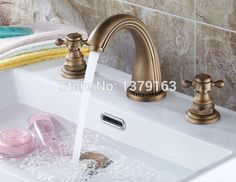 74.99$  Buy here - http://ali3zx.worldwells.pw/go.php?t=2032333222 - Antique Brass  Dual Cross Handles Mixer Taps Bathroom Vessel Sink Basin Faucet  anf009 74.99$