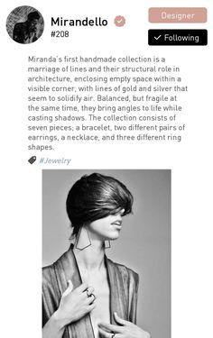 This is Miranda Vukosovic, who does jewellery inspired by architecture. #fashioncommunity #fashion #fashionista #fashionadvisory #lawoapp #fashionapp #fashiondesigners #pinterestfashion