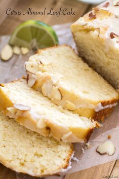 Almond Loaf Cake This loaf cake is packed with tangy lemon and lime flavor and topped with a citrus almond glaze.This loaf cake is packed with tangy lemon and lime flavor and topped with a citrus almond glaze. Lemon Desserts, Just Desserts, Delicious Desserts, Yummy Food, Cupcakes, Cupcake Cakes, Baking Recipes, Cake Recipes, Dessert Recipes