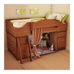 GREAT space saving bed with built-in dresser and tons of storage space.