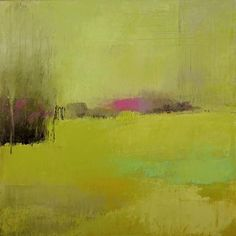 """Irma Cerese, """"Savannah #2,"""" acrylic on canvas, 18x18"""". Her paintings kind of combine everything great about both landscape and color filed abstraction."""