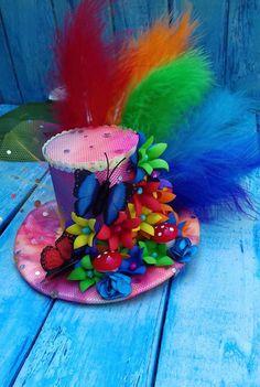 Rainbow mini top hat Alice in Wonderland hat Mad hatter hat image 3 Vintage Tea Parties, Mad Tea Parties, Tea Party Hats, Crazy Hat Day, Crazy Hats, Alice In Wonderland Crafts, Wonderland Party, Mad Hatter Birthday Party, Mad Hatter Costumes