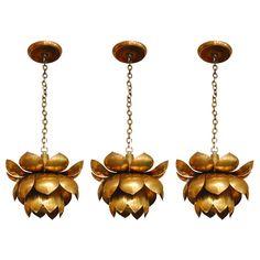 Brass Lotus Chandelier for mudroom OR kitchen lighting