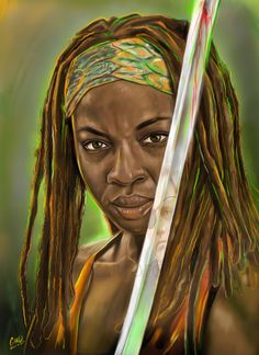 This is an artist's print of Michonne from the hit cable TV show, The Walking Dead. The print is also printed on high quality photo paper. I also sign the print.