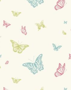 Butterfly - Albany Wallpapers - A pretty butterfly kids wallpaper showing in pale pink, green and blue on a off white background. Please request a sample for true colour match. Little Girl Bedrooms, Girls Bedroom, Butterfly Wallpaper, Kids Wallpaper, Ruby Room, Girl Nursery, Nursery Ideas, Bedroom Ideas, Appliques