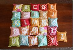 Alphabet bean bags - great way to use up scraps!