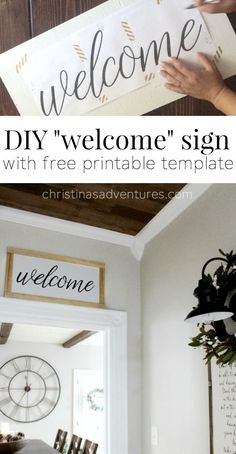 Great tutorial and free printable template to make this DIY welcome sign with NO special tools.  You won't believe how simple this is! Home Decor Signs, Diy Signs, Diy Wall Decor, Wood Signs, Diy Home Decor, Room Decor, Wall Decorations, Creation Deco, Cute Dorm Rooms