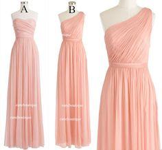 Two Cheap Long Bridesmaid Dresses, One Shoulder Bridesmaid Dress, Sweetheart Bridesmaid Dress, Long Chiffon Dresses, Floor Length Dresses