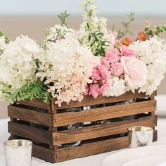 Make your own rustic centerpieces using paint stir sticks! Instructions: http://www.bhg.com/wedding/planning/pinterest-wedding-ideas/?socsrc=bhgpin042915paintstickbasket
