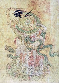 """Uighur woman shaman dancing what became known as the ""Soghdian Whirl,"" from Xinjiang, central Asia. (Soghdia was what is now called Uzbekistan.) This whirling dance with robes fluttering appears in paintings and glazed tomb tiles over a sizeable region of central Asia."" From Max Dashu, Suppressed Histories Archives"