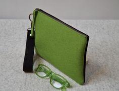 Bold Green and Black Felt Clutch, Elegant Clutch Handbag, Evening Bag, Felt Handbag, Green Felt Zipper Handbag, Wool Clutch, Zipper Pouch by HeidiTaschen on Etsy