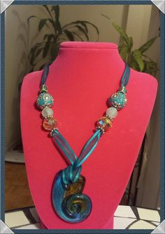 Handmade Glass Beaded Turquoise Ribbon by MissingJewelbyMilka, $40.00