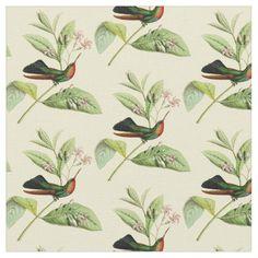 Vintage Fiery Throated Hummingbird Fabric
