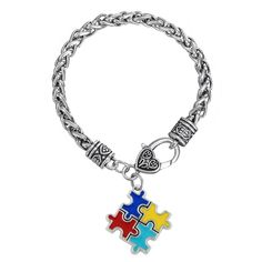 9777658084b33 Find More Charm Bracelets Information about my shape Autism Awareness  Puzzle Jigsaw Classic Silver Plated Fashion