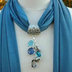 Jewelry Scarves Dusty Blue Scarf with Shades of Blue Beads ($22) ❤ liked on Polyvore
