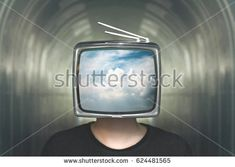 man with television heads in the clouds illusion