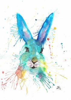"""""""Hare, Hare"""" bright colourful hare print guaranteed to brighten up any room. Available as a A4 or A3 silk finish 250gsm print or A4 or A3 fine are fine art sign"""