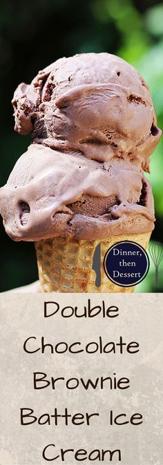 No cook, egg free Double Chocolate Brownie Batter Ice Cream! Ready to churn in just 2 minutes and taste's like you are licking the bowl of your favorite brownie batter but in ice cream form!