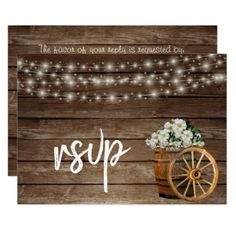 Rustic Wood Barrel and White Floral - RSVP Card - invitations custom unique diy personalize occasions