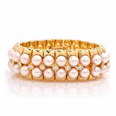 Mikimoto Pearl Diamond Gold Wide Bracelet