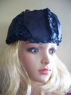 JUSTINE dramatic 50s crown style hat by MarlenesVintageAttic