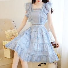 Sweet Hollow Out Lace Ruffles Dress Lolita Style 2019 Summer Women''s Sleeveless Square Collar Backless Chiffon Dress Korean Fashion Dress, Kpop Fashion Outfits, Girls Fashion Clothes, Ulzzang Fashion, Girly Outfits, Pretty Outfits, Pretty Dresses, Beautiful Outfits, Fashion Dresses