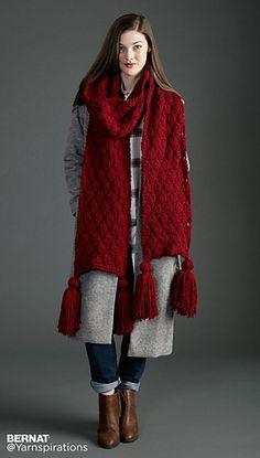 Make It Big Knit Super Scarf pattern by Yarnspirations Design Studio – Knitting Scarf Crochet Cape, Knitted Cape, Crochet Scarves, Easy Scarf Knitting Patterns, Knitting Blogs, Scarf Patterns, Free Knitting, Big Knits, Cowl Scarf