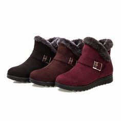 Buckle Fur Lining Suede Keep Warm Slip On Flat Ankle Boots