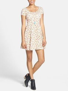 Soprano 'Chloe' Scoop Neck Skater Dress (Juniors) available at Junior Dresses, Cute Dresses, Casual Dresses, Summer Dresses, Awesome Dresses, Summer Clothes, Floral Skater Dress, Look At You, Women's Fashion Dresses