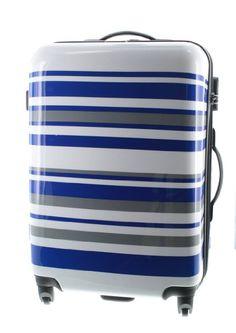 #Trolley #Reisekoffer #Handgepäck Koffer Pianeta Hartschale Polycarbonat / ABS bunt gestreift (XL (70cm), Weiß / Blau / Grau)