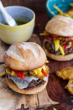 Cuban Black Bean and Rice Mojo Burgers with Slaw + Garlic Tostones | halfbakedharvest.com