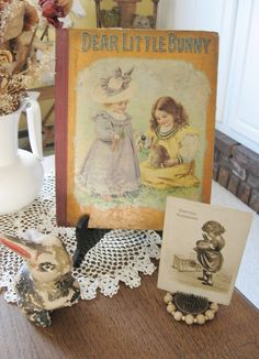 Antique Bunny Book & Old Chalkware Rabbit on Display