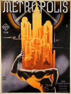 Art Deco Poster for Fritz Lang's Metropolis, 1927 Posters Vintage, Retro Poster, Vintage Movies, Print Poster, Best Movie Posters, Cinema Posters, Movie Poster Art, Film Posters, Metropolis Film