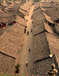 Streets, Langzhong Ancient City Of Nanchong, Sichuan, China.