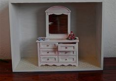 Items similar to Shabby Chic Filled Dresser on Etsy Kitchen Board, Miniature Kitchen, Shabby Chic Style, Dollhouses, Cover Photos, Dollhouse Miniatures, Buffet, Dresser, Boxes