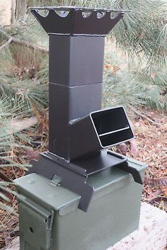 Shadrach Portable Rocket Stove Larger Design Ammo Can storage (stove only) Camping Wood Stove, Portable Camping Stove, Camping Gas, Truck Camping, Cooking Stove, Fire Cooking, Outdoor Cooking, Propane Gas Stove, Rocket Stove Design
