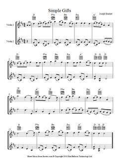 Simple Gifts (appalachian shaker song) sheet music for Violin Duet