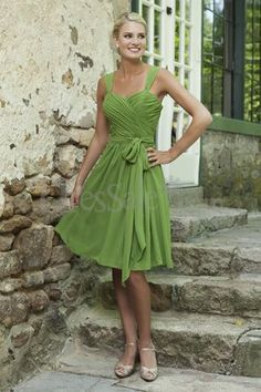 Dressale:Tank Straps Knee-length Green Chiffon Bridesmaid Choice