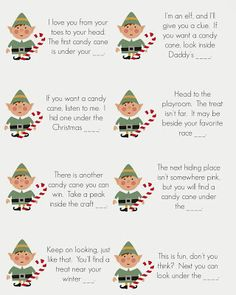 East Coast Mommy: Elf on the Shelf - Candy Cane Scavenger Hunt... free printable clues