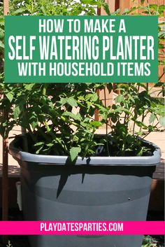 Make your own self-watering planter with a storage tote and other items you can find at the hardware store. It's a fantastic way to conserve water and to forgetting to water your vegetable garden. Best of all, you can finish it in only one afternoon. http://playdatesparties.com/2015/05/for-last-few-years-husband-and-i-have.html
