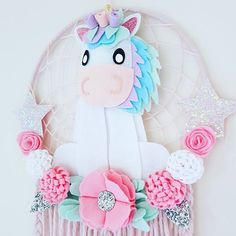 🦄Magical Unicorn Dream Catcher🦄 Something special for all the lovely Unicorn lovers out there.  #unicorn #dreamcatcher #unicornlover #pasteldecor #unicorndecor #girlsdecor #dreamcatchers #pinkdecor #australianhandmade #felt #girlsroom #wallhanging #unicornlove #unicorndreamcatcher #handmadeisbest #handmadedecor