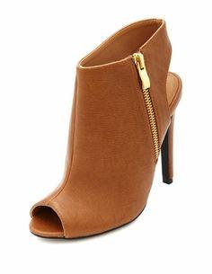 3533752eb88e Peep Toe Zip Bootie  Charlotte Russe. Jazmin Iliza · Charlotte Russe Shoes  · Cutout ...