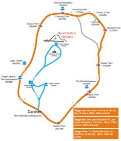 Detailed Kailash Trekking Outline Map