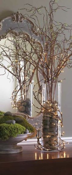 The Chic Technique: Fall Decorating Idea - Branches, Rocks and Mini Lights. - The Chic Technique: Fall Decorating Idea - Branches, Rocks and Mini Lights. Fairy Lights, Twig Lights, Lighted Branches, Branches With Lights, Branches In Vase, Vase With Lights, Willow Branches, Xmas Decorations, Diy Christmas Centerpieces